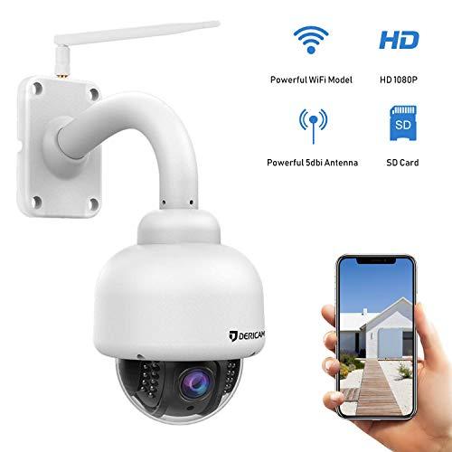 Dericam Outdoor WLAN Überwachungskamera, PTZ Outdoor Kamera, Crystal Full HD 1080P, 4 x optischer Zoom, Autofokus, vorinstallierte 32GB Speicherkarte, S2-32G Weiß