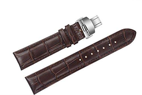 21 mm di sostituzione di lusso marrone cinturini in pelle / fasce imbottite grano alligatore con fibbia di distribuzione