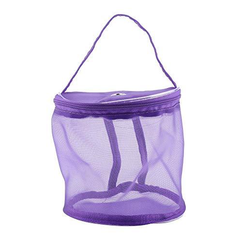 Zerodis Tragbar Stricken Tasche Zylinder Mesh Wolle Aufbewahrungstasche Leicht Praktische Behälter Handtasche Garn Zubehör Violett
