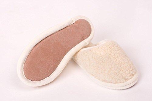 wollwarm Damen- und Herren-Pantoffeln - Hausschuhe 100% Merino Schafwolle, natur Größe 36-47 Natur