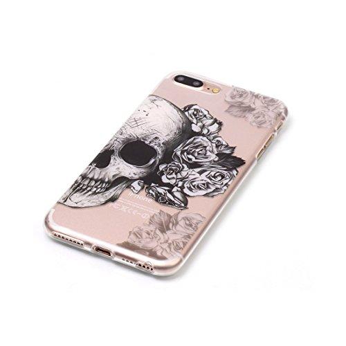 iPhone 7 Plus Custodia Case, Clear Ultra sottile protettiva TPU Silicone Back Rubber Bumper Protector iPhone 7 Plus copertura Cover 5.5 - Cranio # 9