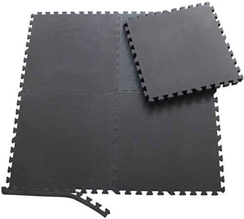 Sporttrend 24 | 8 Schutzmatten + 16 Endstücke in schwarz | Eva Bodenschutzmatten Unterlegmatten für Sportgeräte und Fitnessgeräte
