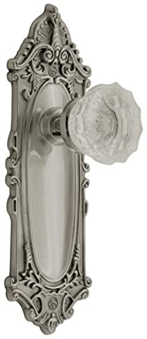 Nostalgic Warehouse BN40-VICCRY-SN Victorian Plate with Crystal Knob Privacy, Satin Nickel by Nostalgic Warehouse