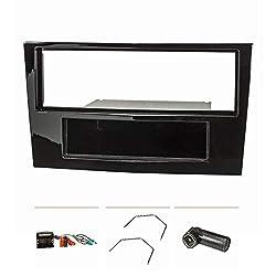 tomzz Audio 2439-059 Radioblende Set passend für Opel Corsa D Astra H Zafira B Piano Lack schwarz mit Quadlockadapter ISO, Fakra Antennenadapter Phantomeinspeisung DIN ISO, Entriegelungsbügel
