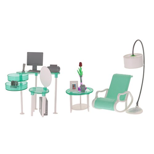 Anbau Dollhouse Furniture Computer Room Table Lounge Chair Set for 1/6 Barbie Doll