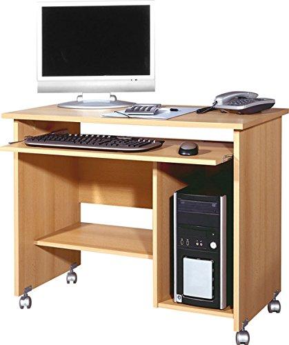 lifestyle4living Computertisch in Buche-Nachbildung, Towerfach, Druckerfach und Tastaturauszug, Maße: B/H/T ca. 90/72/48 cm