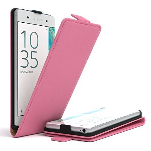 Sony Xperia XA Hülle - EAZY CASE Premium Flip Case Handyhülle - Schutzhülle aus Leder in Lila Rosa (Flip)