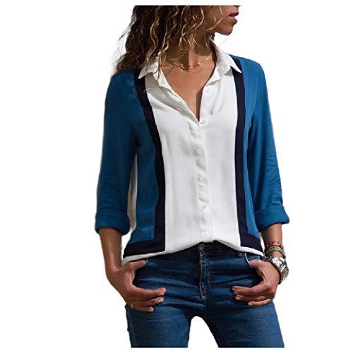 CuteRose Women Blouse Casual Loose Single Button Striped Chiffon Top Shirt AS17 M -
