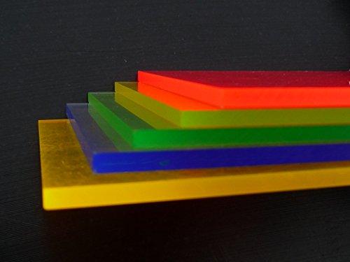 Platte Acrylglas GS, 500 x 500 x 3 mm, Fluoreszierend blau Zuschnitt alt-intech® - 2