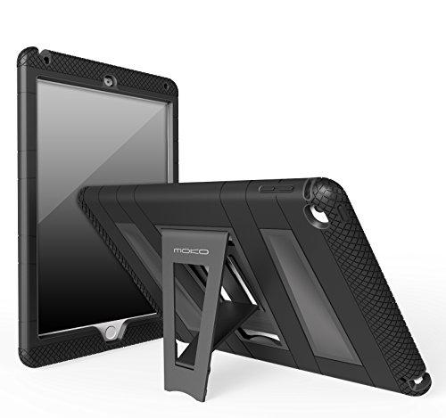 MoKo Case per Apple iPad Air 2 - Custodia Protettiva in Silicone Ibrido Resistente + Nero policarbonato Rigido con Supporto per Bambini per Apple iPad Air 2 9.7 inch iOS 8 Tablet, Nero