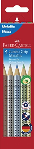 Faber-Castell 110993 - Buntstift Jumbo Grip Metallic, 5er Etui