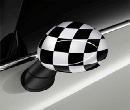 Original Mini außenspiegelkappen Checkered Flag noir/blanc pour Mini F55F56F57