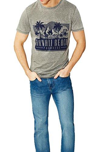 Herren Threadbare Anchorage Oder Madison T Shirt Neu Burnout Graphischer Aufdruck T-shirt Top Anchorage - Burgfelsen Grau
