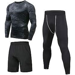 Niksa 3 Piezas Conjunto de Compresion Hombre, Camisetas Compression Mallas Running Pantalon Corto Deporte Ropa Deportiva Hombre para Running, Correr, Gym, Fitness XL