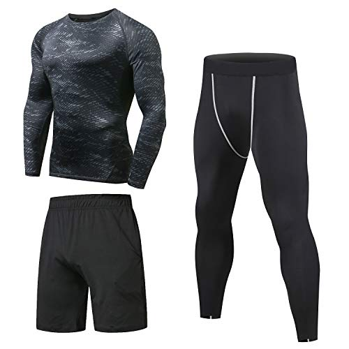 Niksa Homme 3 Pièces Vêtements de Sport avec Shirt Compression+Collant Running +Short Séchage Rapide pour Jogging Workout Football Cyclisme Ensemble de Fitness Tenue de Sport Sportswear(12 Long L)