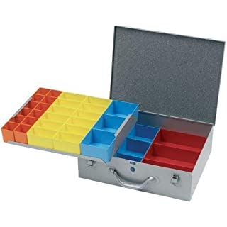 Silver Metal Storage Screw Organiser Tool Box Compartment System Case Suit Fixing (Grand Double 440 x 330 x 130mm)