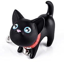 iDealhere Nuevo Diseno de Gato Lindo de Gatito Llavero Colgante Niños Juguete Ornamento (negro)