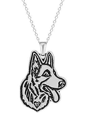 Gudeke Handgefertigt Shepherd Dog Deutscher Schäferhund Hund Kopf Halskette aus Metalllegierung für Männer Frauen...
