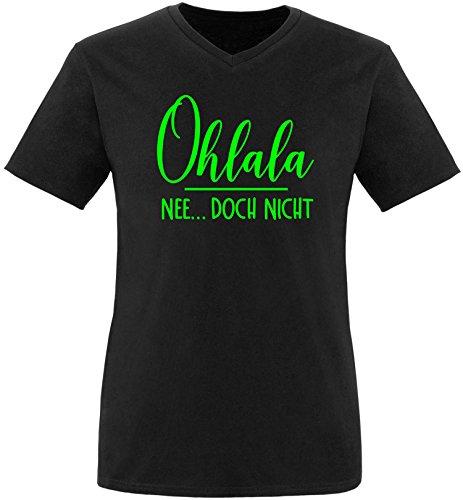 EZYshirt® Ohlala - Nee...doch nicht Herren V-Neck T-Shirt Schwarz/Neongrün