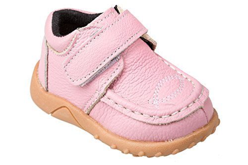 GIBRA® Mocassins pour bébés et enfants en cuir, avec fermeture velcro, rose, taille 19–25 Rose - Rose