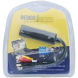 Redgo Adaptateur convertisseur VHS vers DVD numérique pour Win 10, carte de capture audio vidéo et enregistreur compatible Windows 10 8 7 XP Vista PC Convertisseur vidéo analogique au format numérique