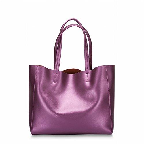 Lila Nappa-leder (Leder Nappa Schultertasche Handtasche Handtaschen , lila)