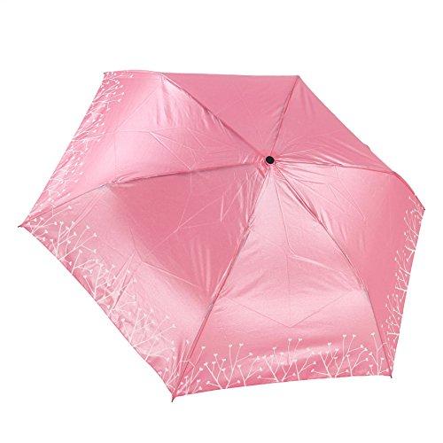 FakeFace Greenery Rosenvase Design Taschenschirm Mini Schirm Faltender Regenschirm Folding Bottle Umbrella UV-Schutz Sonnenschirm mit Rose Griff Gechenk für Kinder Modische Damen Bürodamen Outdoor Camping (Rosa)