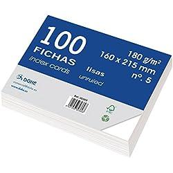 Dohe 30369 - Pack de 100 fichas lisas de cartulina blanca, 180 g, lisas, nº 5, 160 x 215 mm
