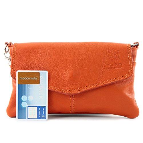 Borsa a tracolla borsa Messenger in vera pelle italiana T05 Orange