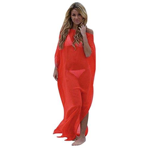 Ba Zha Hei Frauen Bikini vertuschen O-Ausschnitt Locker Zum Knöchel Einfarbiger Casual-Bereich Beach Kleid Elegant Lang Seide Kurzarm Badeanzug Bademode Strand Shirt Kleid Badeanzug (Orange, XXL) (Shirt Seide Kleid)