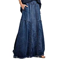 GAGA Women Patchwork Elastic-Waist Classic Cut-Off Plus-Size Denim Long-Maxi Skirts 2 S
