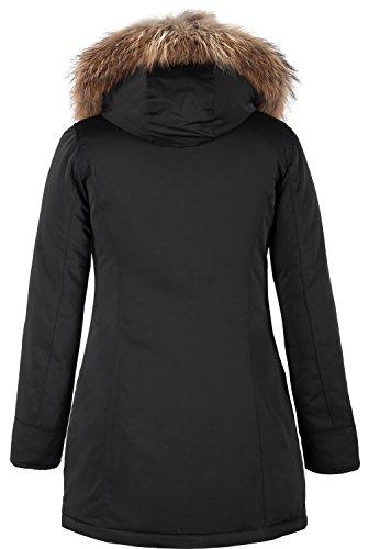 Grimada 6M166M Damen Daunenmantel Arctic Parka TARORE mit Echtfellkapuze (34, schwarz) - 2
