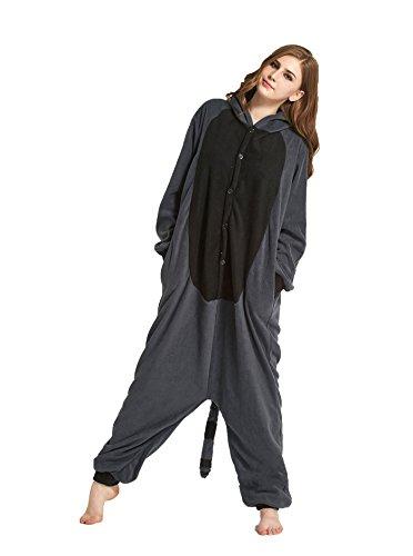 Honeystore Unisex Grau Waschbär Kostüm Erwachsene Tier Jumpsuits Onesie Pyjamas Nachthemd Nachtwäsche Cosplay Overall Hausanzug Fastnachtskostüm Karnevalskostüme Faschingskostüm Kapuzenkostüm XL (Fred Feuerstein Superhelden)