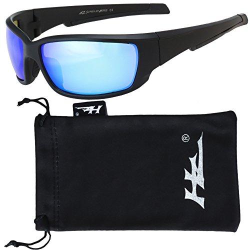 Hornz HZ Serie Superfit - Premium Polarisierte Sonnenbrille Sonnenbrillen für Männer - Full Frame Starke Arme - Matte Schwarzer Rahmen - Blauer Eisspiegel Linse