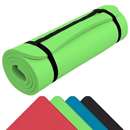 WELLGRO® Yogamatte - 185 x 80 x 1,5 cm (LxBxH), NBR-Schaumstoff, mit Tragegurt, rutschfest, abwaschbar - Farbe wählbar, Farbe:Grün