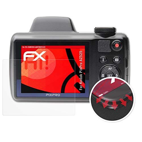 atFoliX Schutzfolie passend für Kodak PixPro AZ525 Folie, entspiegelnde & Flexible FX Bildschirmschutzfolie (3X)
