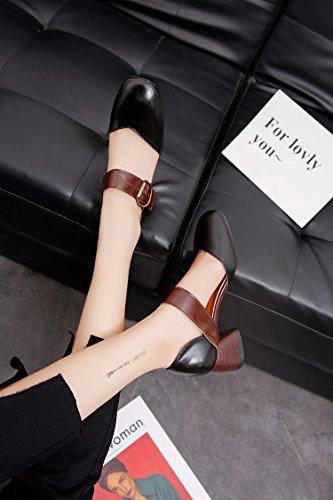 Baotou Correspond À Chaussures Sandales De Gros Mot Chaussures Rouges Black
