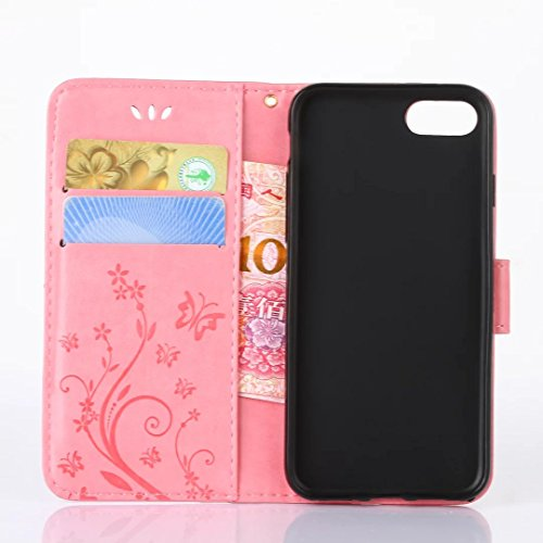 iPhone 7Case, Augus tcoco Stand Wallet Purse Credit Card ID Holders Magnetic Étui folio souple TPU Bumper en cuir PU ultra slim fit Cover For iPhone 7 rose bonbon