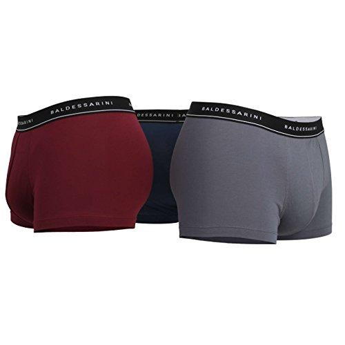 BALDESSARINI Herren Boxer Short Pants 3er Pack, Single Jersey - Schwarz Red Medium Solid