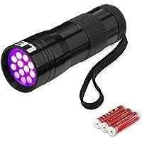 LE Torcia UV 12 LEDs, 395nm Raggi Utlra Violetti 3 Batterie AAA incluse