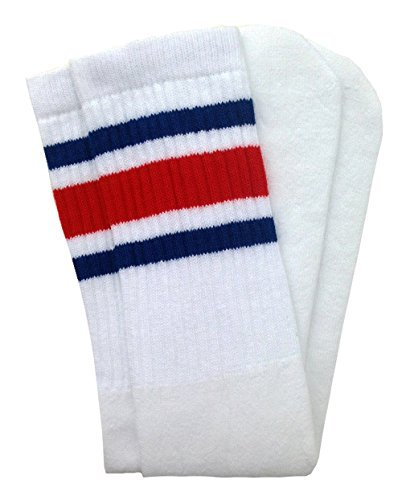 9175bbfc64af5 Skatersocks 19 Inch Mid Calf White tube socks with Royal Blue-Red stripes  style 3