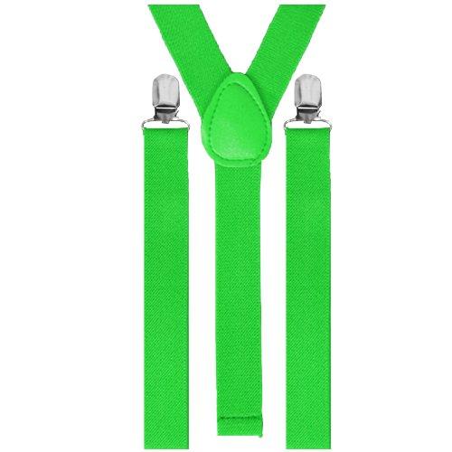 Runway Splash - Herren Damen Unisex Verstellbare Einfarbige Neon Totenkopf Muster Hosenträger - Einheitsgröße, Grün