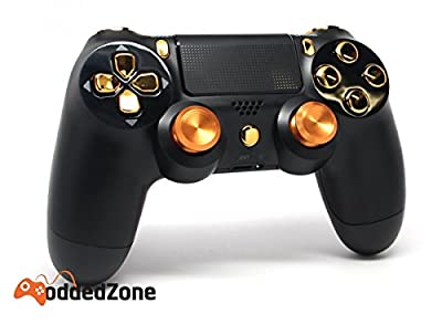 Black/Gold Aluminum Thumbsticks Ps4 Custom UN-MODDED Controller Exclusive Design