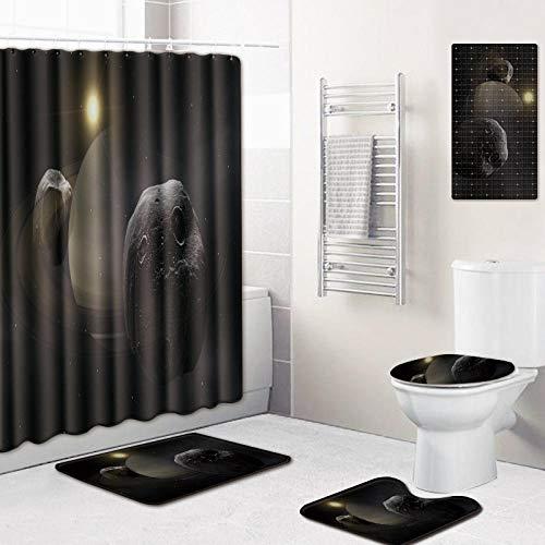WOSBE wc Teppich Set,5-Teiliges Celestial Starry skyduschvorhangBadezimmermatten-Set, mit 12 Haken und Rutschfestem WC-Vorleger & Deckel Badematte, Badezimmer-Dekoration 45 * 75cm @F -