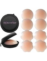 KQueenStar Nipple Cover - Silikon Nippelabdeckung Gel Brustwarzenabdeckung Selbstklebend & Wiederverwendbar,Brust Aufkleber,unter BH, Bikini & Badeanzug, Nippel-Cover-Pads, Einheitsgröße, Rund,