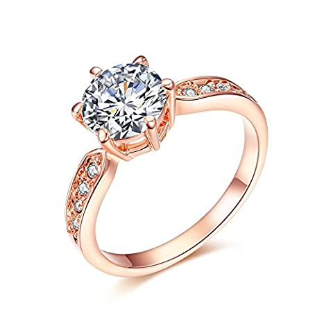 Atistic 18k Rose Gold Plated 6-prongs 1.5ct Round CZ Wedding Band Rings, Size O