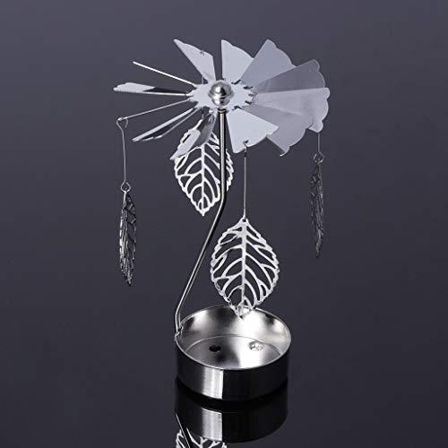 Wanfor Drehbarer Teelichthalter aus Metall Karussell Kerzenhalter Heimdekoration Geschenke, 9 Muster, Eisen, Silber, Leaf