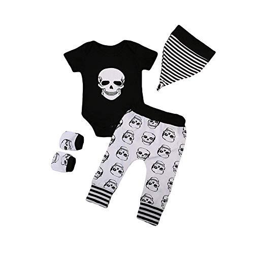 SEWORLD Baby Halloween Kleidung,Niedlich 4pcs Infant Halloween Baby Knochen Drucken Strampler + Hosen + Hut + Handschuhe Set Kleidung(Schwarz,18 Monate)