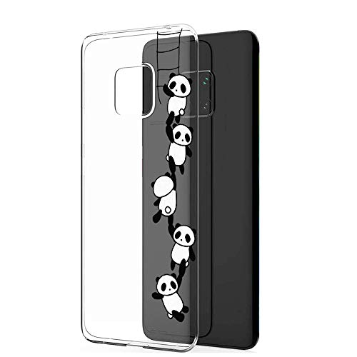 9-evei Hülle kompatible mit Huawei Mate 20 Pro, Huawei Mate 20 Clear Tasche Hülle TPU Silikon Panda Flower Design Handyhülle Transparent Schutzhülle für Huawei Mate 20 (18, Mate 20) -