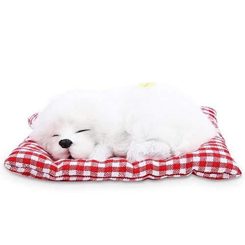 Zouminy Schöne Kinder Stofftiere Simulation Tier Puppe Plüsch Schlafen Hunde Mit Sound für Kinder(Volles Weiß) - Turbo-zauberstab